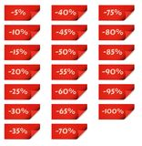 Red stick tags for percentage discounts Royalty Free Stock Photo