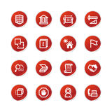 Red sticker building icons Stock Image