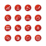 Red sticker business icons Royalty Free Stock Image