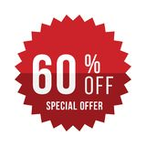 Red sticker with 60 discount. Template of the emblem with special offer flat  eps 10 Royalty Free Stock Photo