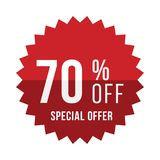 Red sticker with 70 discount. Template of the emblem with special offer flat eps 10.  stock illustration