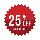 Red sticker with 25 discount. Template of the emblem with special offer flat  eps 10.  Royalty Free Stock Image