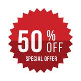 Red sticker with 50 discount. Template of the emblem with special offer flat  eps 10 Royalty Free Stock Images