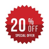 Red sticker with 20 discount. Template of the emblem with special offer flat  eps 10.  Royalty Free Stock Photography