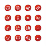 Red sticker  finance icons. Vector web icons, red sticker series Stock Images