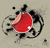 Red sticker on a grunge back Royalty Free Stock Photography