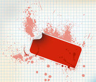 Red sticker on a grunge background Stock Photo