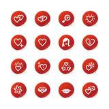 Red sticker love icons Stock Photos