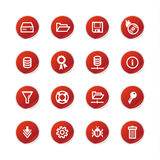 Red sticker server icons Royalty Free Stock Photography