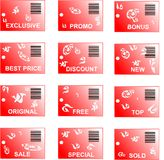 Red sticker tag set with bar codes and abstract or Stock Photos