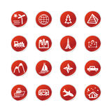 Red sticker travel icons Stock Images