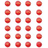 Red stickers. Set of red stickers with different percentages off Stock Image