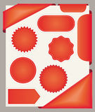 Red stickers, bookmarks and ribbons. Red stickers, bookmarks and ribbons collection Stock Photo