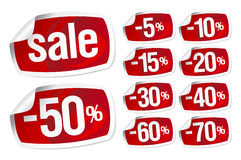 Red stickers for discount sale Royalty Free Stock Photography