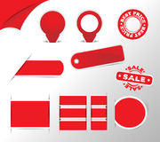Red stickers, tags, label Stock Photography