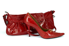Red stiletto shoe and handbag Royalty Free Stock Images