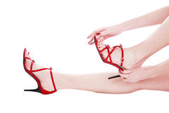Red stilettos Stock Images
