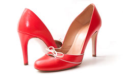 Red stilettos shoes on white background Stock Photography