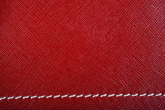Red Stitched Leather Stock Photography