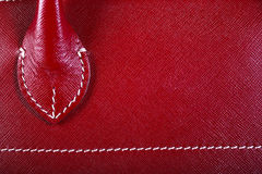 Red Stitched Leather Stock Image