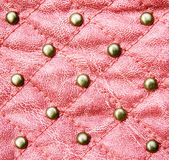 Red stitched leather texture Royalty Free Stock Photos