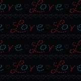 Red stitched love letters with denim blue hearts text. stock illustration
