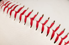 Red stitches on the seam baseball