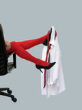 Red stockings. Christmas party at the office went wild royalty free stock photos