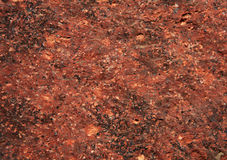 Red stone background. Red granite surface macro shot. There are contours of some plant on the surface which makes it look even cooler Stock Image