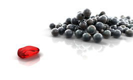 Red stone and Balls. Lots of chrome black balls with one red, 3d render Royalty Free Stock Photos