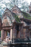 Red Stone carving of the Banteay Srei Temple Royalty Free Stock Image
