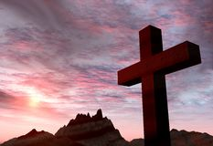 Red stone cross on a background of extremely storm sky and mount Stock Photo