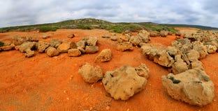Red stone desert. On Akamas peninula, Cyprus royalty free stock photography