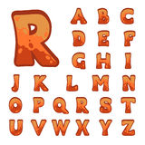 Red stone game alphabet. Stone game alphabet for user interfaces Stock Images