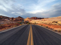 Red Stone Highway. Red Sandstone highway and storm clouds at Valley of Fire, Nevada Stock Photo