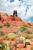 Red stone landscape of sedona with holy chapel Royalty Free Stock Photos