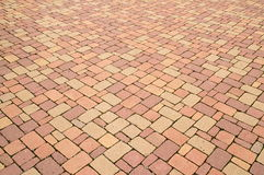 Red stone paving Stock Photo