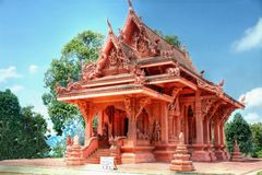 Red stone temple on the Island of koh Samui. Thailand stock images