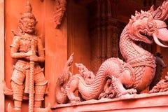 Red stone Wat Sila Ngu temple, Koh Samui, Thailand Stock Photography
