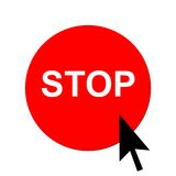 Red stop button and cursor Stock Photos