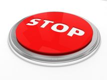 Red stop button isolated. Over white Stock Image