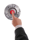 Red STOP button pressed by hand. Red STOP button pressed by businessman's finger Royalty Free Stock Images