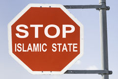 Red stop islamic state II stock photos