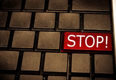Red Stop key on a computer keyboard Stock Photography
