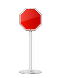 Red stop road sign Stock Photos
