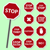 Red stop road sign set as banners Royalty Free Stock Images