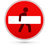 Red stop road sign with surfer man Royalty Free Stock Photo