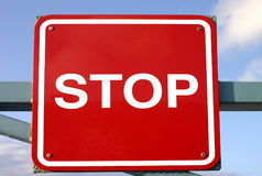 Red stop sign. A square red stop sign Stock Photography