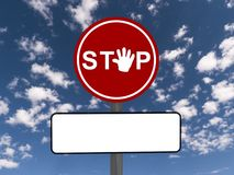 Red stop sign with copy space Royalty Free Stock Photo