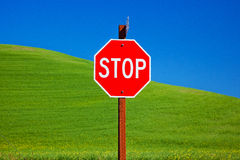 Red Stop Sign Green Grass Palouse Washington Stock Photography